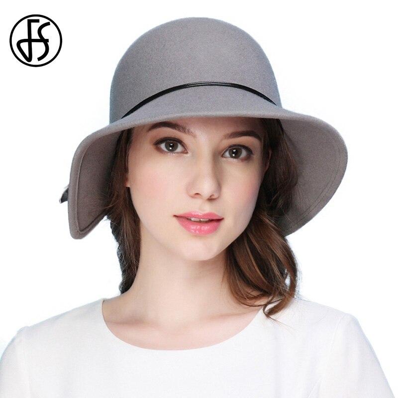 FS 100% Wool Felt Fedora Hat Wide Brim Hats Irregular Design Elegant Women Church Cap Vintage Cloche Fedoras Balck Gray Blue
