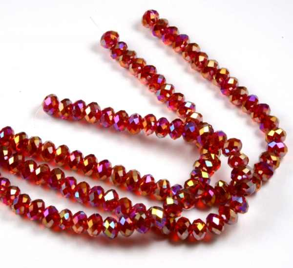 Fashion diy beads 4mm dark Red faceted rondelle Crystal Beads Approx 95Pcs