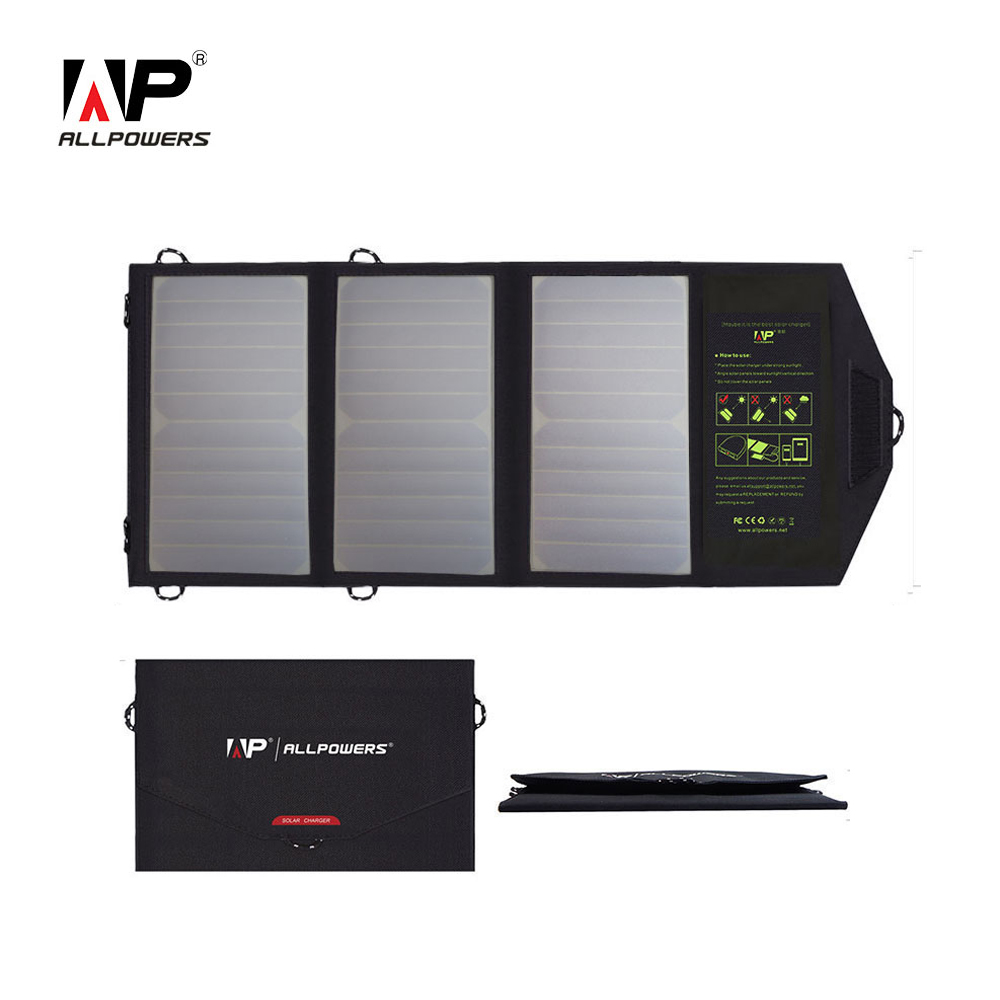 ALLPOWERS Solar Chargers for Mobile Phone Dual USB Output Charging for iPhone iPad Samsung Sony HTC