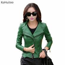 KoHuiJoo M-5XL Autumn Winter Women Leather Jackets Plus Size Ladies Faux Leather Motorcycle Biker Jacket Female Leather Coats