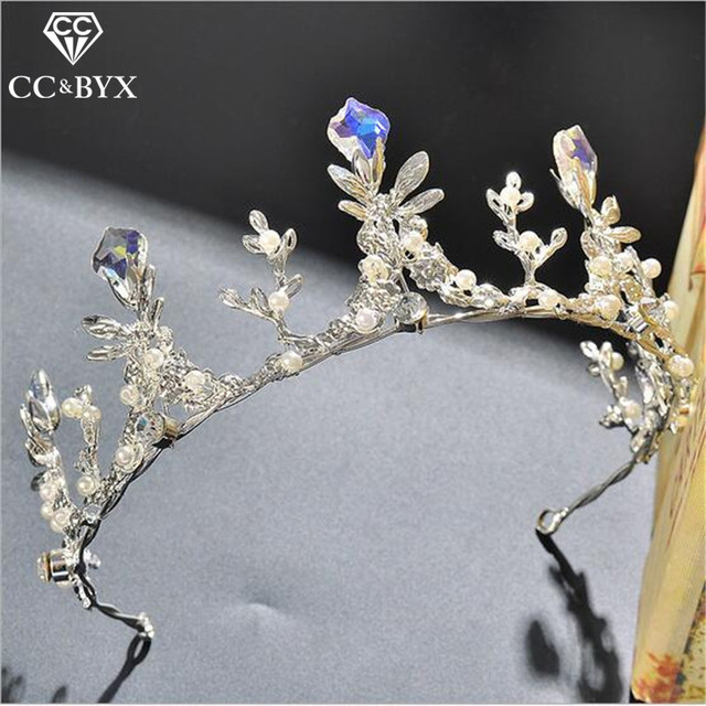 CC Crowns Tiaras Hairbands Crystal Beads Blue Wedding Hair Accessories For Bride Party Beach Bridesmaid Engagement Jewelry HG197