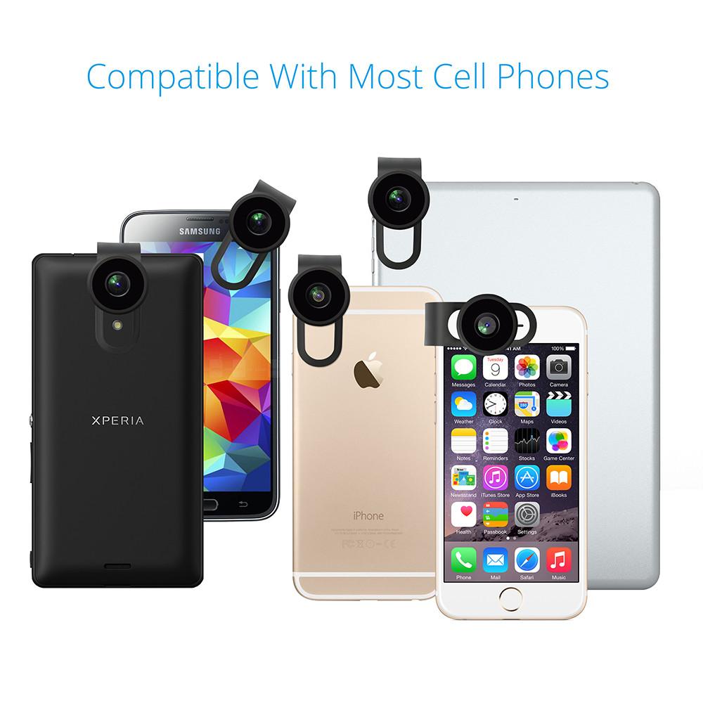 VICTSING Clip-on 3 in 1 Camera Phone Lens Kit Fisheye Lens + 12X Macro + 24X Super Macro Lens for iPhone 6s 6 Plus etc Cellphone 9