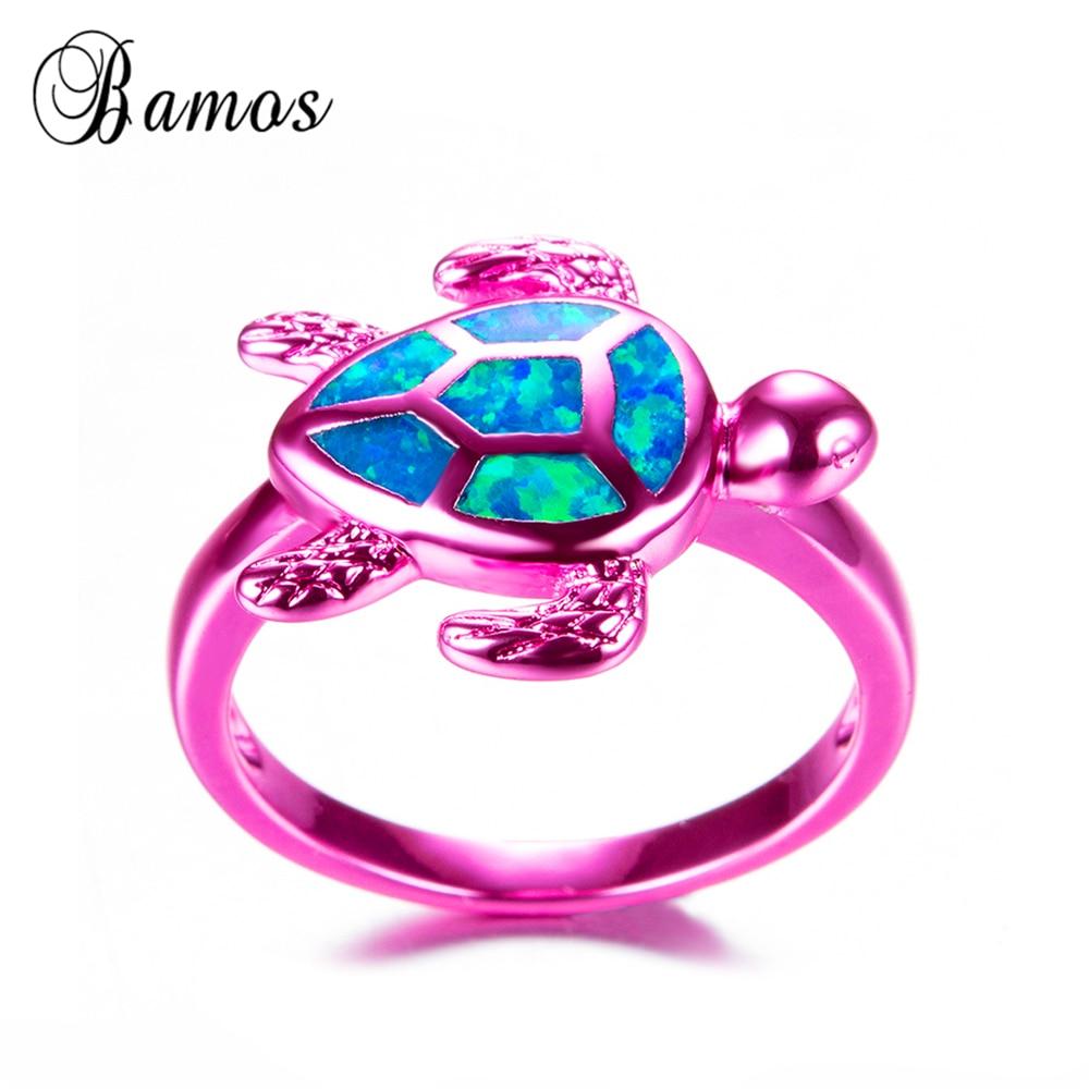 Bamos New Vintage Pink Gold Filled Female Turtle Ring Stylish Blue ...