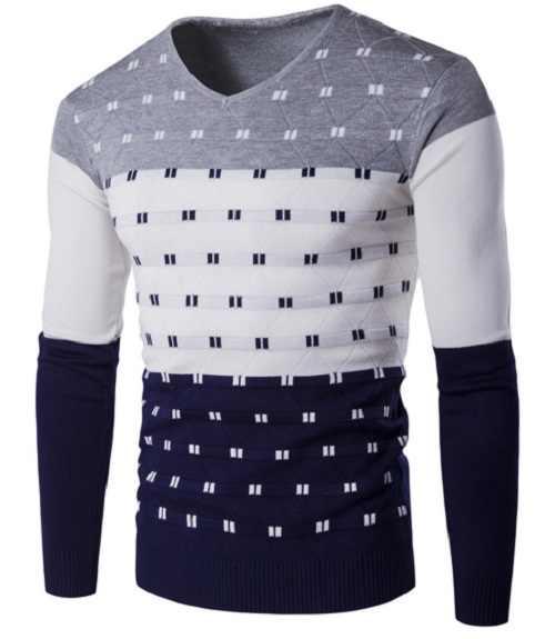 Herbst winter farbe slim fit druck pullover warme männer pullover mode gestreiften langarm v-ausschnitt shirt M-2XL, grün, blau, rot, grau,