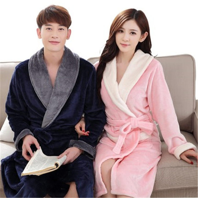 Bath Robe For Lovers Warm Leopard Bathrobes  Female Flannel Nightgown Women Solid Nightwear Couples Thicken Pajamas Winter Fall