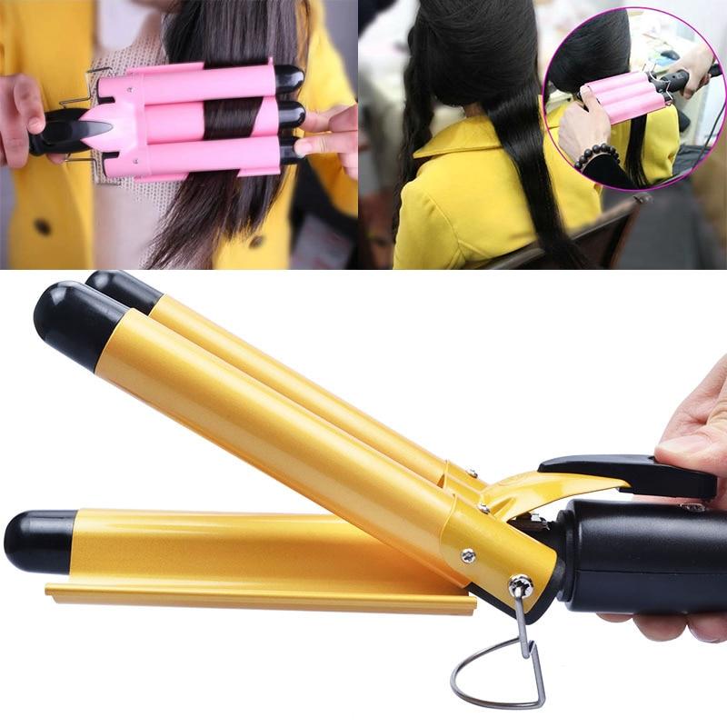 US Plug Digitalni Željezna Trostruka Cjevčica kose Curler kose - Njega kose i styling - Foto 2