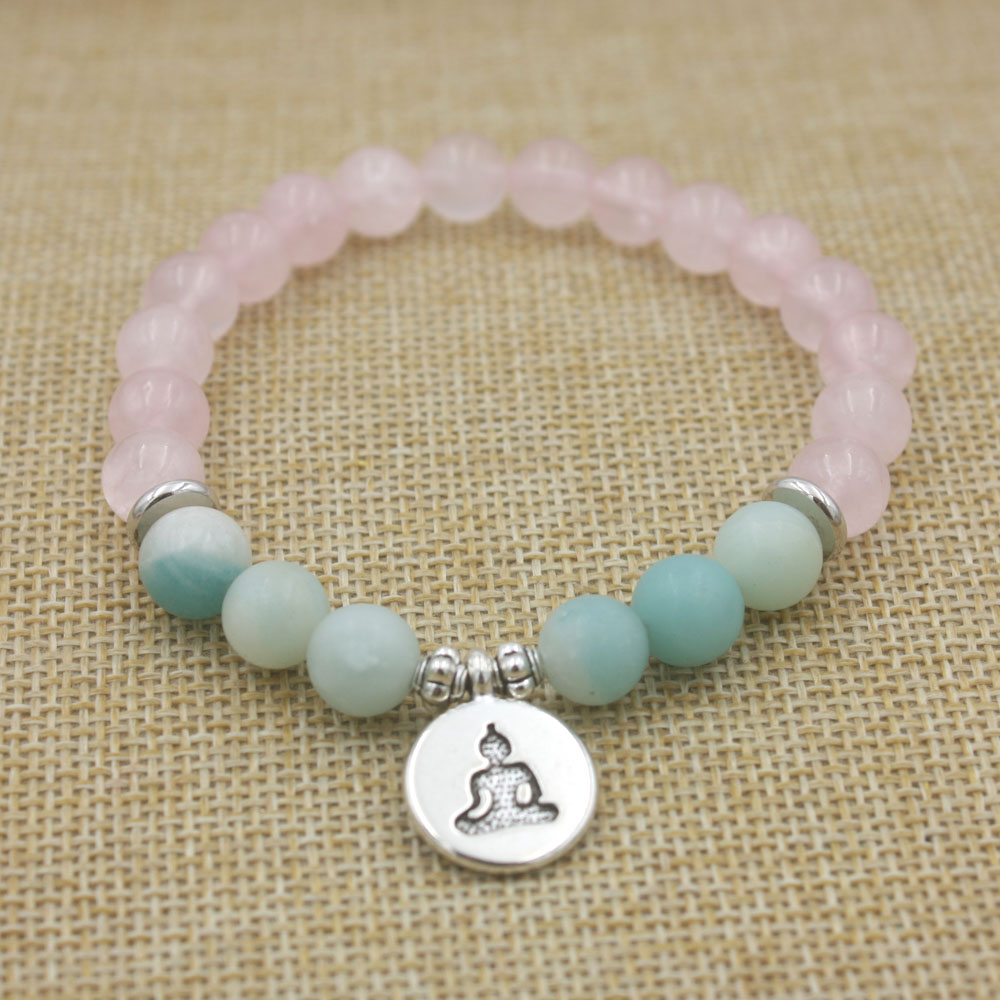Rose Quartz and Amazonite Mala Bracelet 3