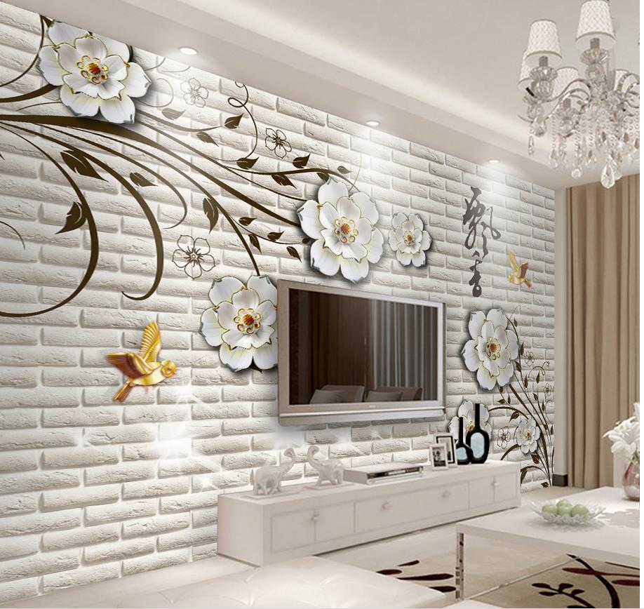 Salle De Bain Brique €12.57 58% de réduction|3d salle de bains papier peint simple en trois  dimensions fleurs brique mur photo peintures murales papier peint  décoration de