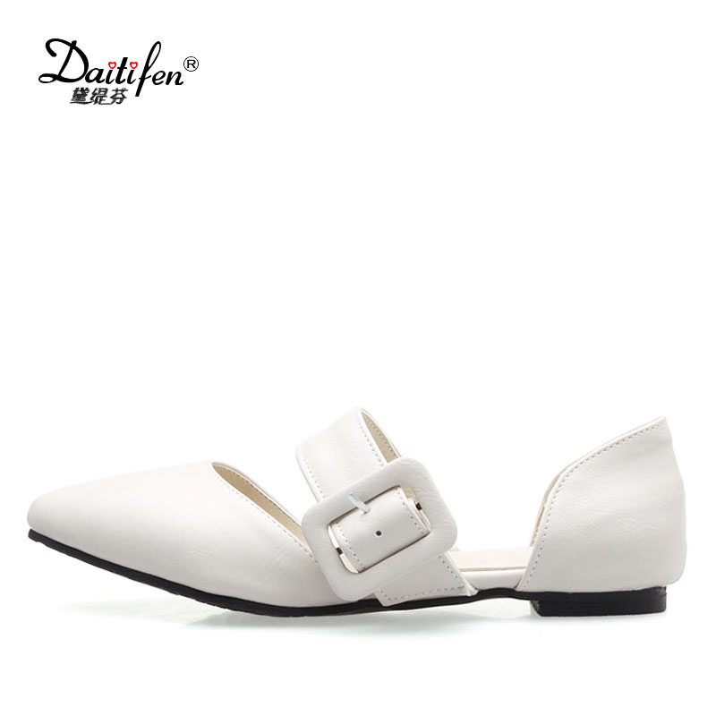 Daitifen Womens Shoes Flats Band Buckle Women Casual Flat Shoes Pointed Toe Ladies Moccasins Shoes Soft Work Driving Footwear women flats genuine leather shoes womens summer shoes pointed toe flats ladies cross elastic band footwear for pregnant women