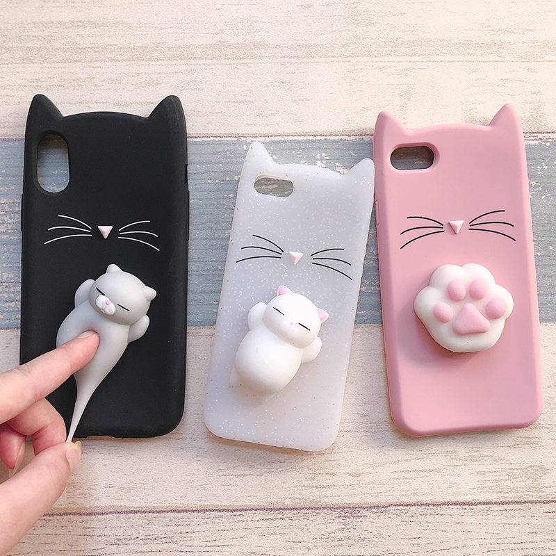 3D Cute Japan Glitter Bearded Cat Case For iphone 5 5S SE X Squishy Cat Cases For iphone 7 8 6 6S Plus Silicone Mobile Phone Bag (6)