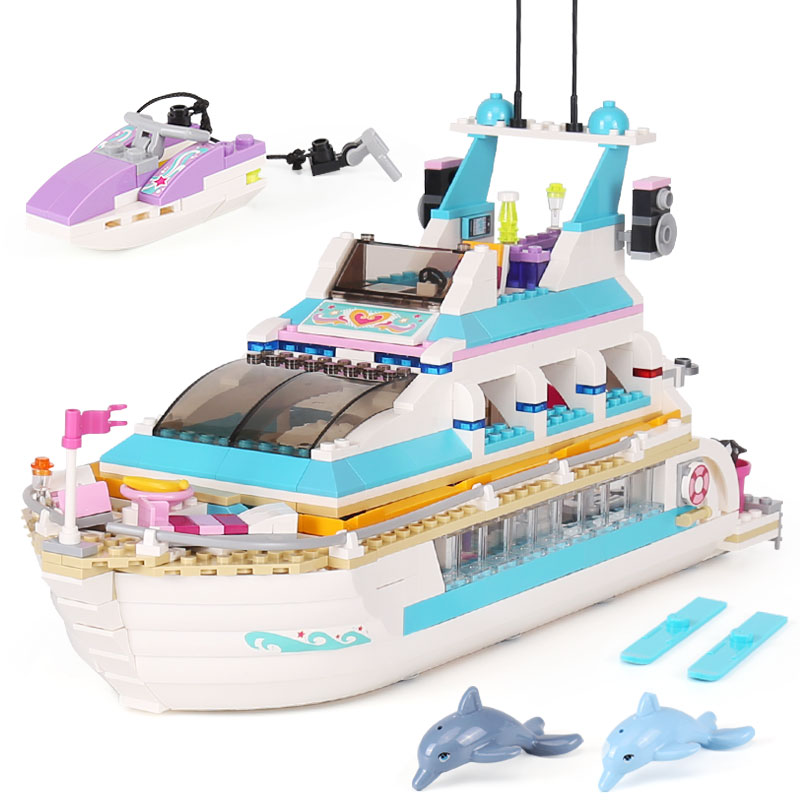 Lepin 01044 Genuine Girl Series The Dolphin Cruiser Set 41015 Building Blocks Bricks Funny Toys As Gifts For Kid funny kid for president