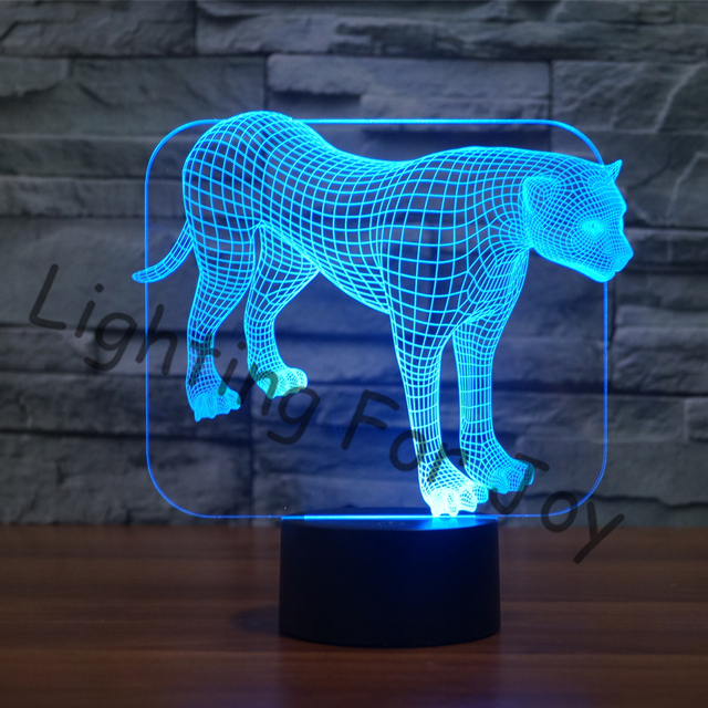 aliexpress koop luipaard r kleurrijke 3d led tafellamp 7