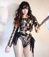 Zwart heldere sexy een stuk lange mouw bodysuit dans slijtage vrouwen party dress zangeres kostuum concurrentie prom gown dragen