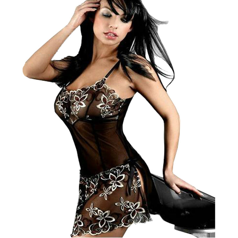 Babydolls Chemises Black Sexy Underwear Pajamas Women Embroidery Lace Nuisette Night Gown Sexy Lingerie Hot font