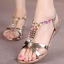 2017 Women Summer Shose Fashion Rhinestone Flat Sandals Women Sandals Comfortable Beach Shoes zapatos mujer #25
