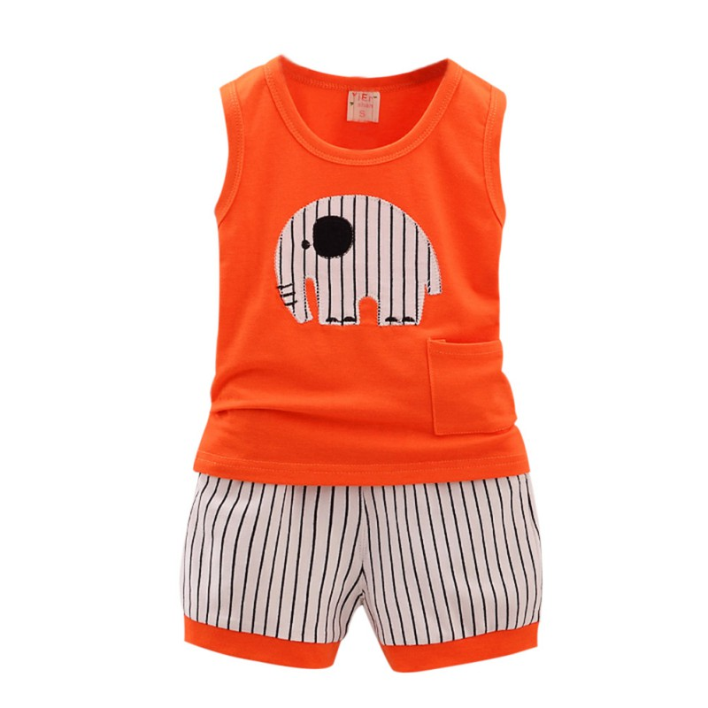 New Summer Kid Cotton Cartoon Baby Boys Girls Vest+Stripe Shorts 2 Pcs Children Clothing Set 1-5Y G27
