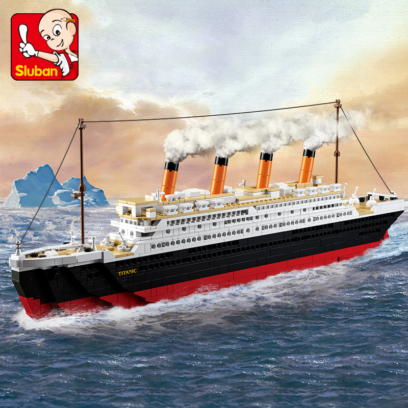 Sluban Building Block City Town Cruise Ship Titanic Small 194pcs and Large 1012pcs Educa ...