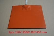 Силиконовые грелку Нагреватель 220 В 500 Вт 400 мм x 400 мм для 3D принтер Тепло Кровать 1 шт.