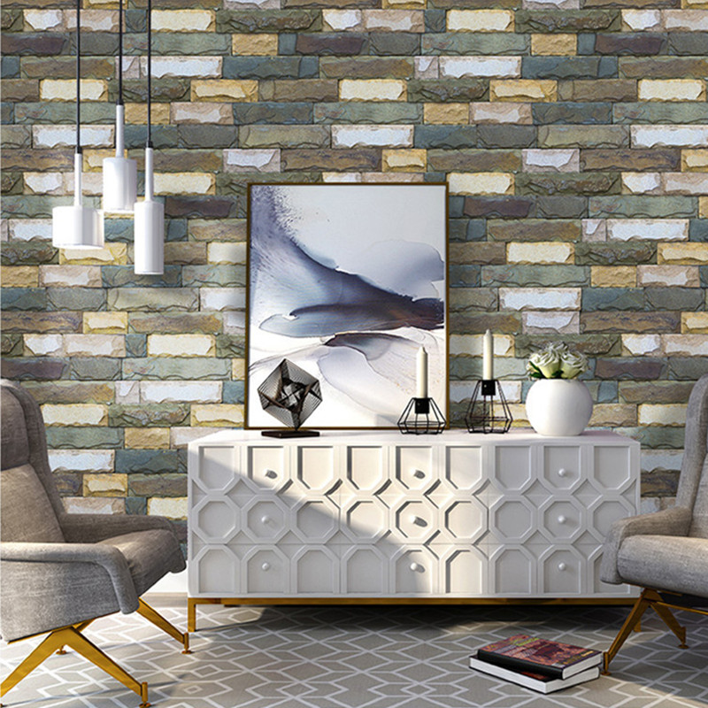 Vintage Stone Brick Wallpaper For Walls Roll 3D PVC Self Adhesive Waterproof Wallpapers for Kitchen Restaurant Desktop Decor in Wallpapers from Home Improvement