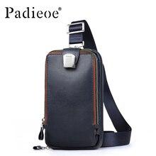 PADIEOE Men leather chest crossbody bag Casual men messenger bag high quality chest waist pack genuine leather messenger bag men