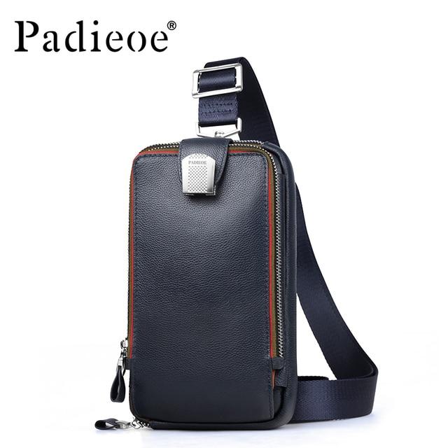 PADIEOE shoulder bag men leather crossbody bags for men genuine leather chest messenger bag men high quality pack