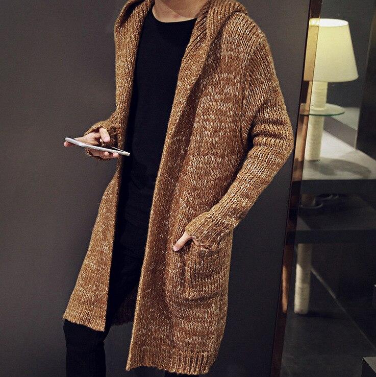 Chandail à capuchon masculin de cardigan de tricotage fait équipe dans le manteau d'épaississement masculin de 2018, chandails des hommes de grands yards