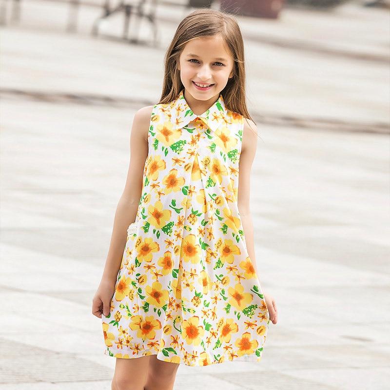 2016 Summer Girls Cotton Frock Designs Yellow Sun Flower Chiffon Dress Clothes for Teen Girls Age7