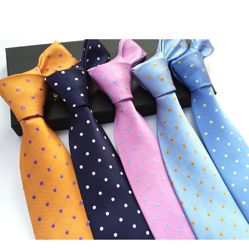 Jbersee Mens Ties Silk Tie Slim Business Wedding Necktie Blue Ties Men Polka Dot Ties For Men Gravata 8cm LD8057
