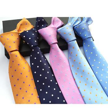Jbersee męskie krawaty krawat jedwabny Slim formalne na wesele krawat niebieskie krawaty mężczyźni Polka Dot krawaty dla mężczyzn Gravata 8cm LD8057 tanie i dobre opinie Dla dorosłych Moda Szyi krawat Jeden rozmiar Poliester