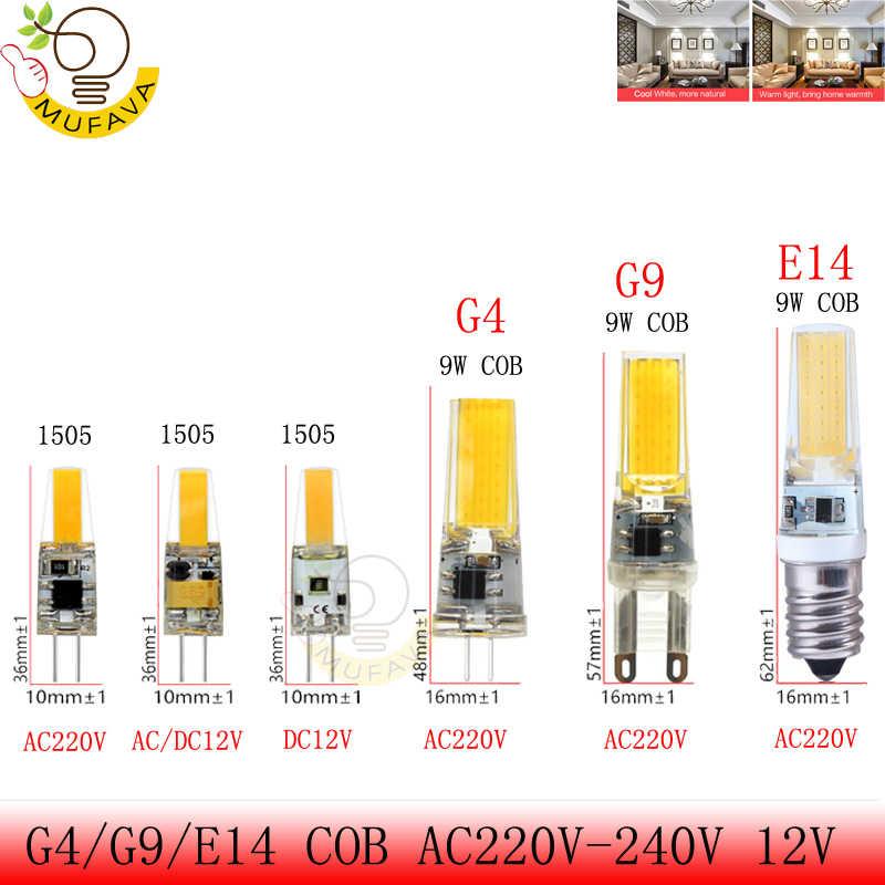 G4 G9 E14 LED Lamp LED Bulb AC/DC Dimming 12V 220V 6W 9W COB SMD LED Lighting Lights replace Halogen Spotlight Chandelier