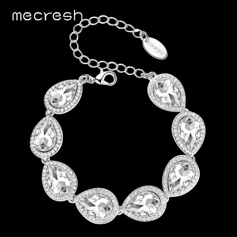 Mecresh Champagne/argent couleur bracelets pour femme cristal mariage demoiselle d'honneur Pulseiras bijoux filles fête cadeau de noël SL051