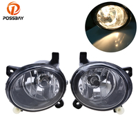 POSSBAY Car Front Light Lamp Round Type Lamp for Audi A4 Sedan/Avant 2008/2009 2012 Halogen Clear Frnt Lower Fog Light Assembly