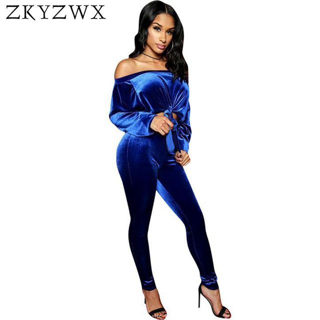 93647a910e2 ZKYZWX Velvet 2 Piece Set Women Sexy Off Shoulder Long Sleeve Tops and  Pants Suit Casual Velour Tracksuit Two Piece Outfit