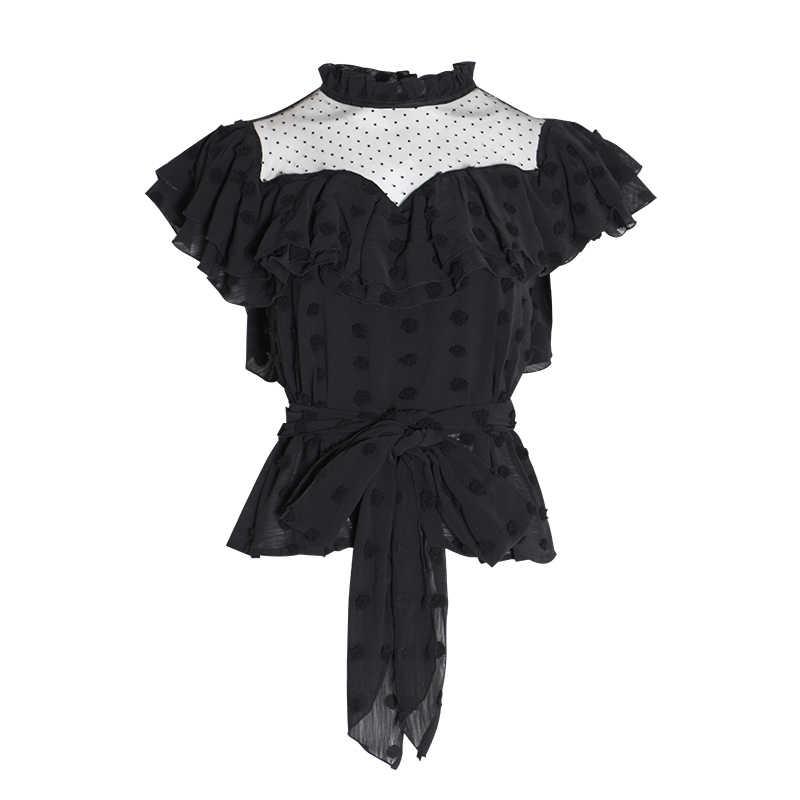 Twotwinstyle polka dot chiffon blusa colheita topos feminino gola babados retalhos rendas bandagem blusas femininas 2019 moda verão