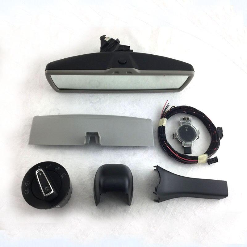 Авто затемнение зеркало заднего вида+ авто фар выключатель+дождь Датчик света щетка стеклоочистителя, пригодный для Гольф мк7