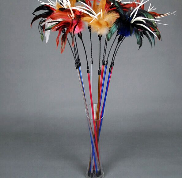 Free shipping Natural colored feather spring wire cat toys Cat Teaser Toy Rod cat bell toys