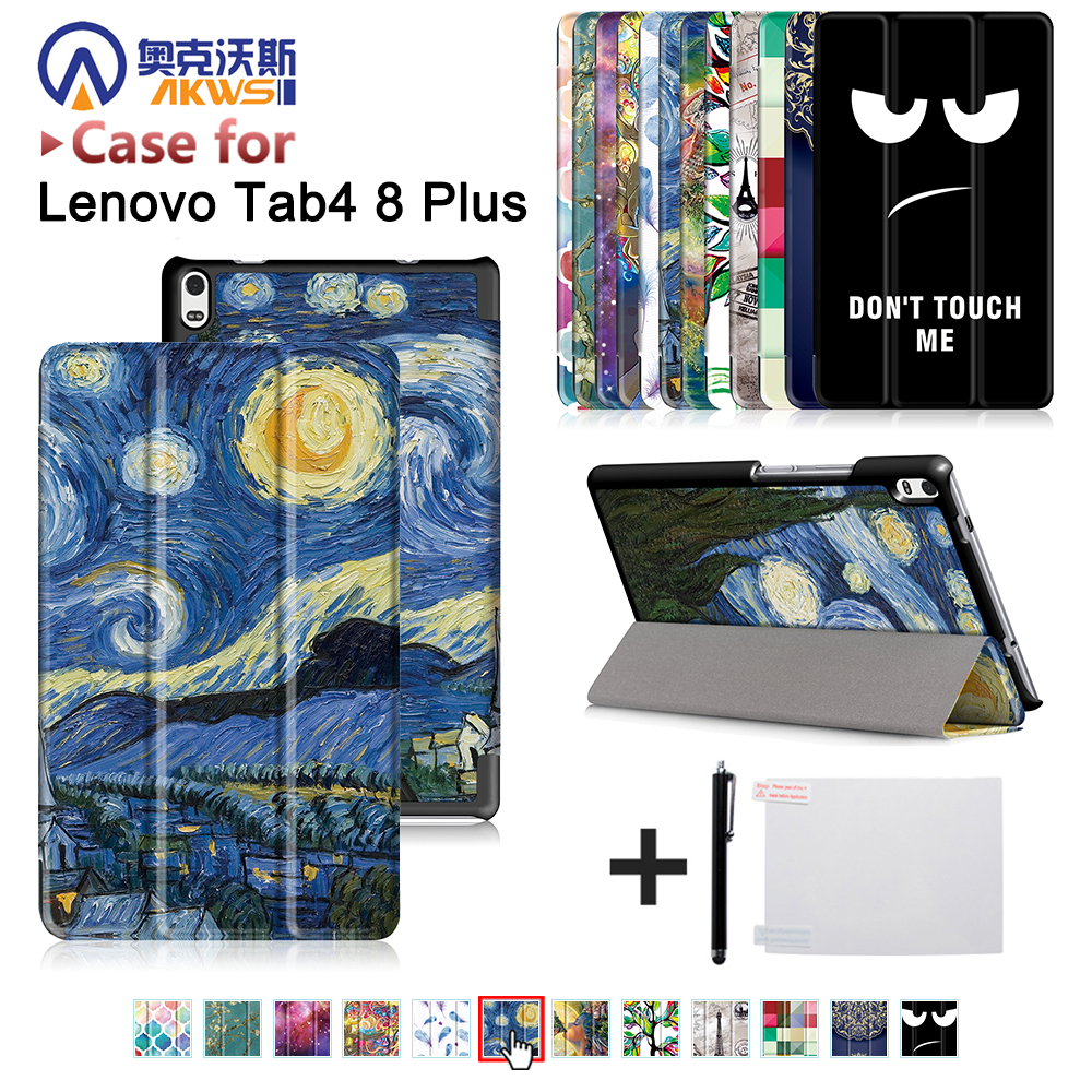 Protective cover case skin for Lenovo TAB 4 8 Plus TB-8704N/TB-8704F (2017 new release) folio triangle stand cover case+gift for lenovo tab 4 10 0 plus 2017 version case folio pu leather smart stand case cover for lenovo tab 4 10 protective skin case