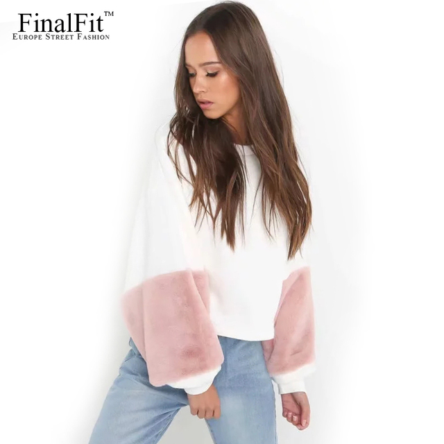 b836dae1c1bd Sweat Femme Pull Court Fourrure Printemps   Automne Patchwork Manches Femme  Casual pull Top