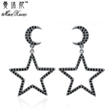 Hot Vintage Silver Color Abstract Star Earrings for Woman Rhinestone Long Stud Earrings Punk Fashion Accessories