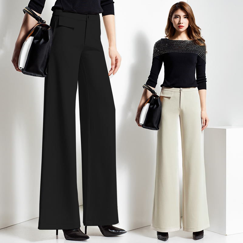 2019 spring and autumn new plus size brand Fashion casual high waist female women ladies   Wide     leg     pants   trousers clothing