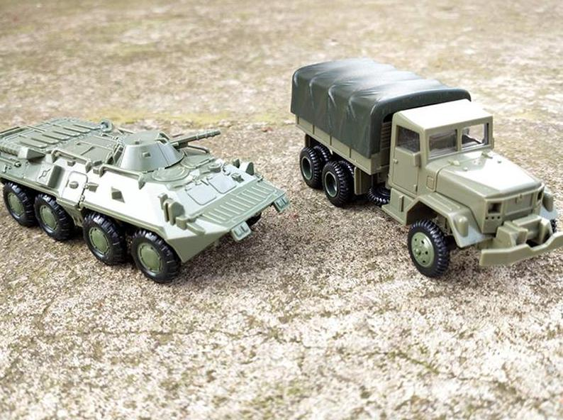 1:72 4D Assemble Car M35 Truck Soviet BTR 80 Wheeled Armored Vehicle Rubber-free Assembly Model Military Toy