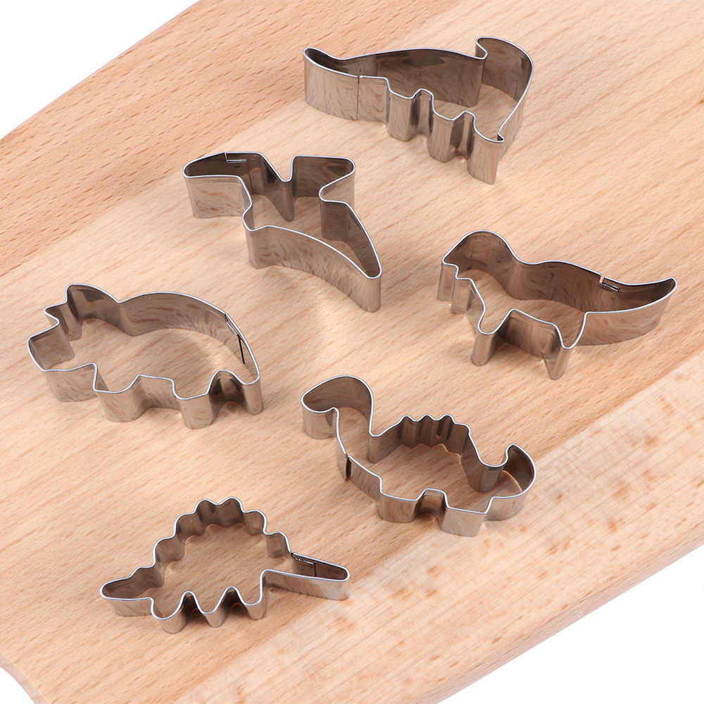 6Pcs Dinosaur Shape Cookie Cutters Tools Stainless Steel Cookie Mold Baking Tools For Biscuit Cake Kitchen Accessories