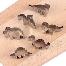 6 pcs 공룡 모양 쿠키 커터 도구 스테인레스 스틸 쿠키 금형 베이킹 도구 비스킷 케이크 주방 액세서리