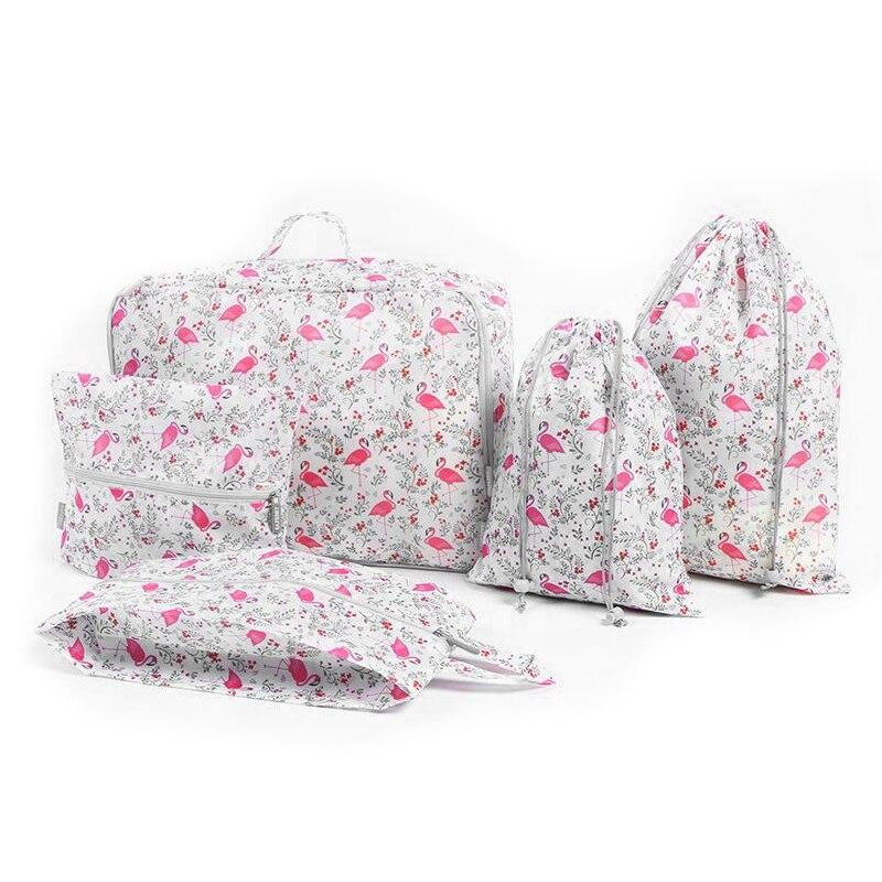 Wulekue 5pcs/set Flamingo Printed Waterproof Oxford Cloth Bag Classification Package Bag ...