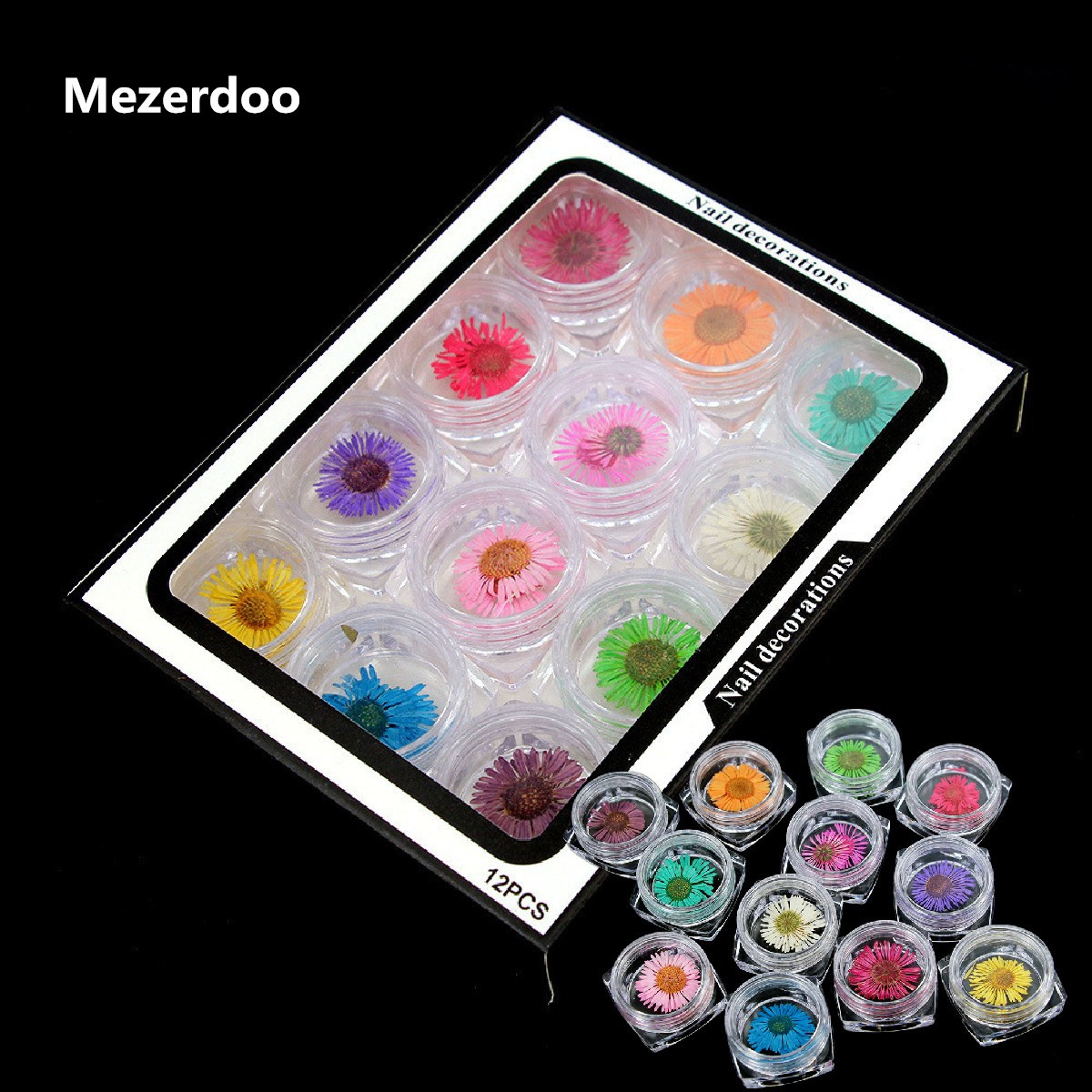 цена на Nail Art Flower Decorations Natural Dried Flower 12 Colors Beautiful Daisy Tips Phone Case Hair Manicure DIY Accessories