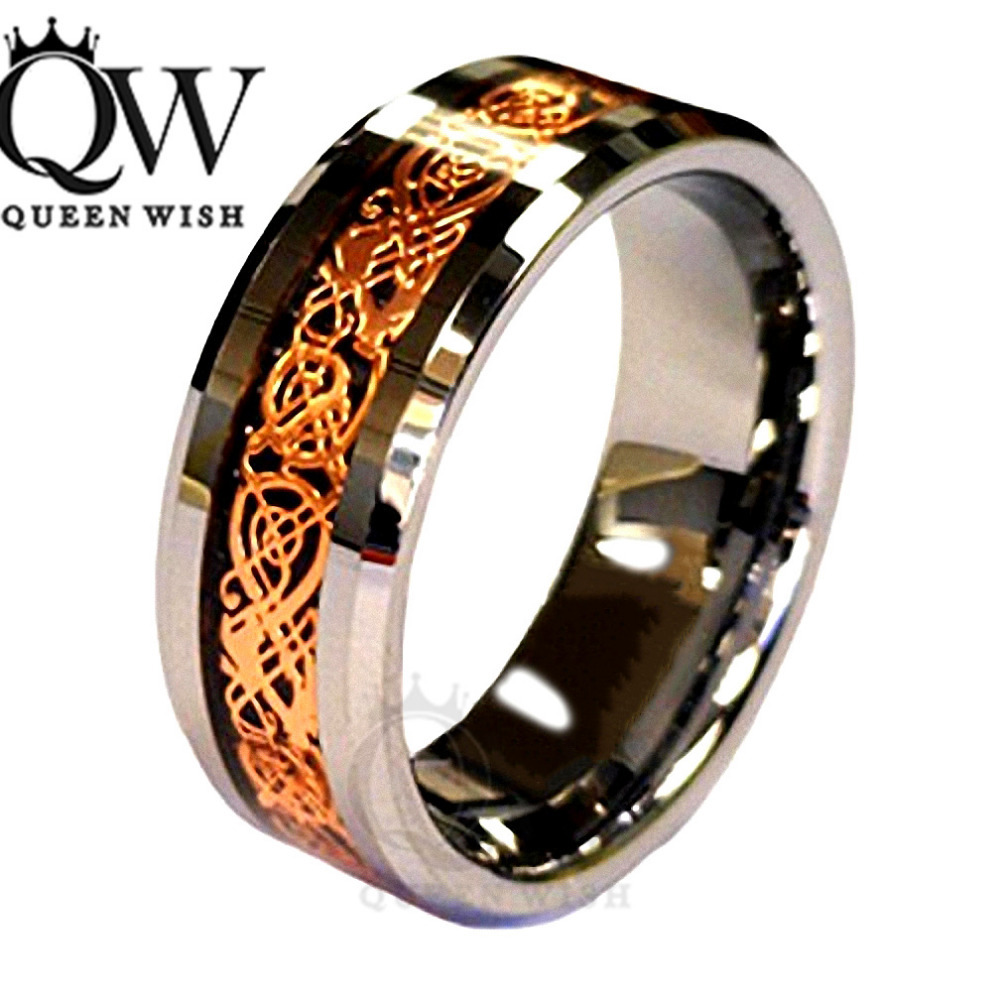 queenwish 68mm celtic dragon tungsten carbide ring matching wedding band couple engagement anniversary jewelry in rings from jewelry accessories on - Mens Celtic Wedding Rings