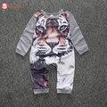 Macio de alta qualidade crianças Recém-nascidas cllothes dos bebés roupas meninas tigre dos desenhos animados Impresso algodão Infantil romper Roupas Outfit