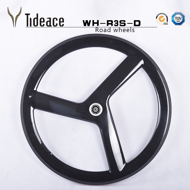 Tideace 3 spoke fixed gear carbon wheel 700c tri spoke wheelset for road track cyclocross bicycle track frame fixed gear frame bsa carbon 1 1 2to 1 1 8 bike frameset with fork seatpost road carbon frames fixed gear frameset