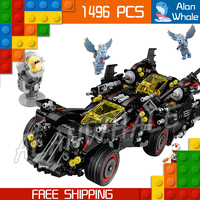 1496pcs New Super Heroes Batman the Ultimate Batmobile Set 07077 DIY Model Building Blocks Toys Brick Moive Compatible With lego