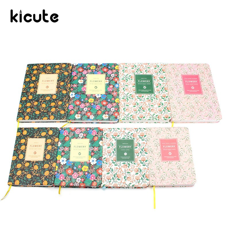 Kicute Flower Floral PU Leather Cover Schedule Book Diary Weekly Monthly Planner Organizer Notebook Office School